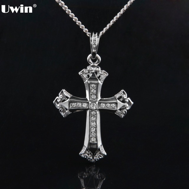 Mens antique rhodium plated cross pendant holly byzantine cross mens antique rhodium plated cross pendant holly byzantine cross crystal charm pendant necklace for men jewelry mozeypictures Image collections
