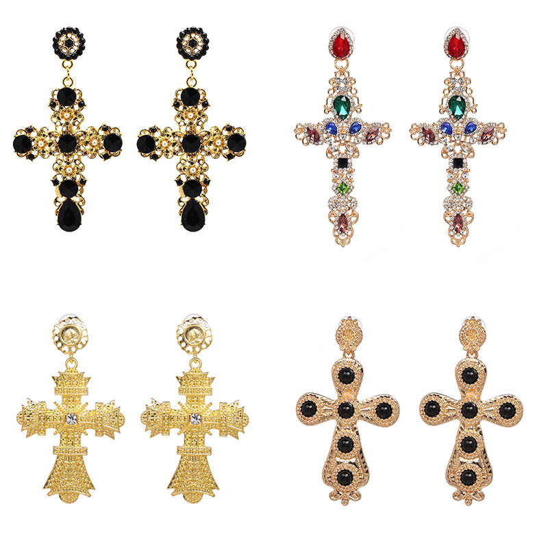JUJIA New Rhinestone Crystal Cross Earrings For Women Fashion Baroque Drop Dangle Earrings Big Earrings Jewelry