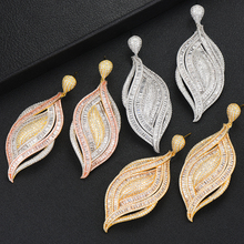 Siscathy Famous Brand Charms Mixed Leaf Drop Dangle Earrings Luxury Mirco Paved CZ Cubic Zircon Womens in Jewelry 2019