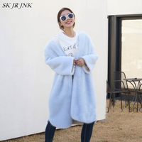 Faux Fur Coat Women 2018 Winter Thick Fur Outerwear Fashion Solid Color Long Sleeve Furry Mink Fake Jacket Lady Plus SizePW27
