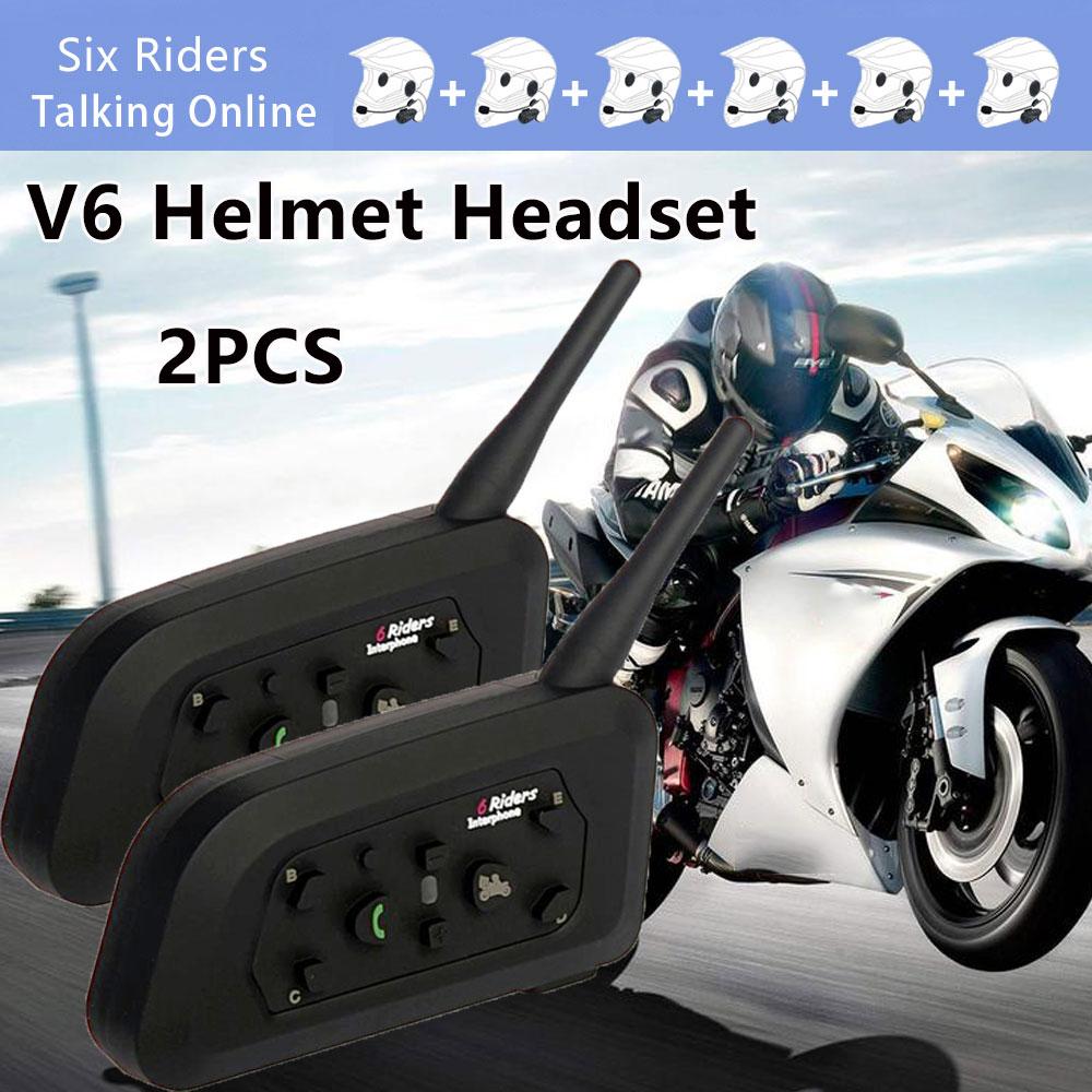 2 uds V6 intercomunicador con Bluetooth, reproductor de música, inalámbrico, manos libres para moto, auriculares, comunicador resistente al agua a la moda para 6 conductores - 3