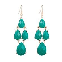 FISHPEACH ZA Statement Green Fire Opal Stones Long Drop Earrings for Women Gifts Geometry Dangle Earring Boho Jewelry Bijoux fake opal geometry drop earrings