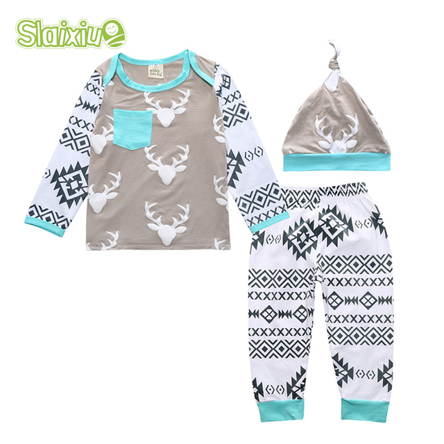 SLAIXIU Cotton Pattern Casual Infant Set For Newborn Girl Boy Clothes Baby Set Tops Stripe Pullovers + Pants + Hat Toddler Suit
