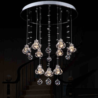 LED Crystal restaurant lamp post dining room lamp shade double staircase creative personality simple modern Pendant Lights