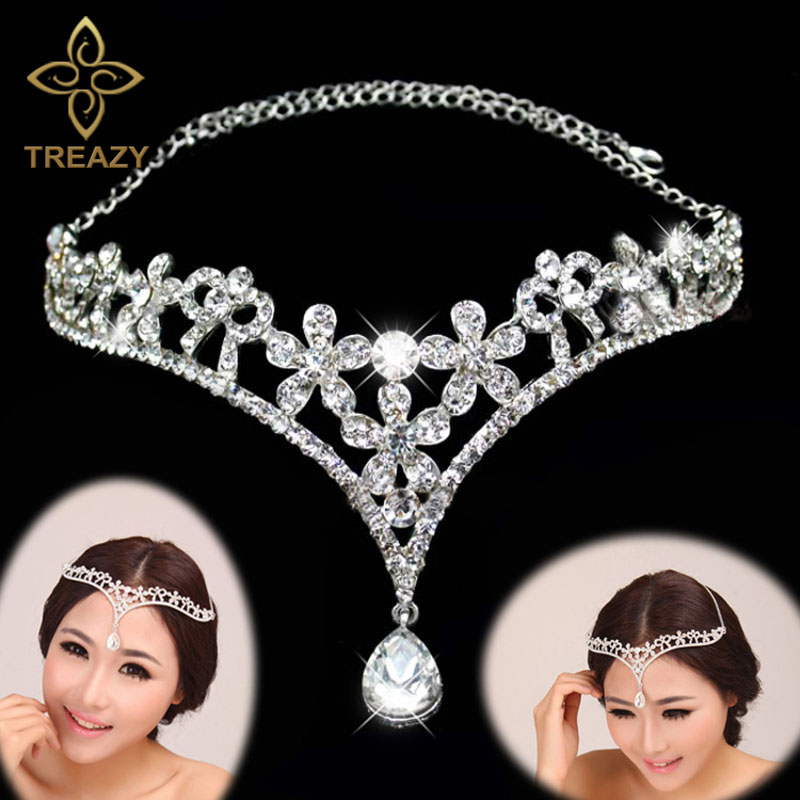 TREAZY Women Silver/Red Color Crystal Flower V Shape Water Drop Crown Tiara Frontlet Wedding Bridal Jewelry Hair Accessories