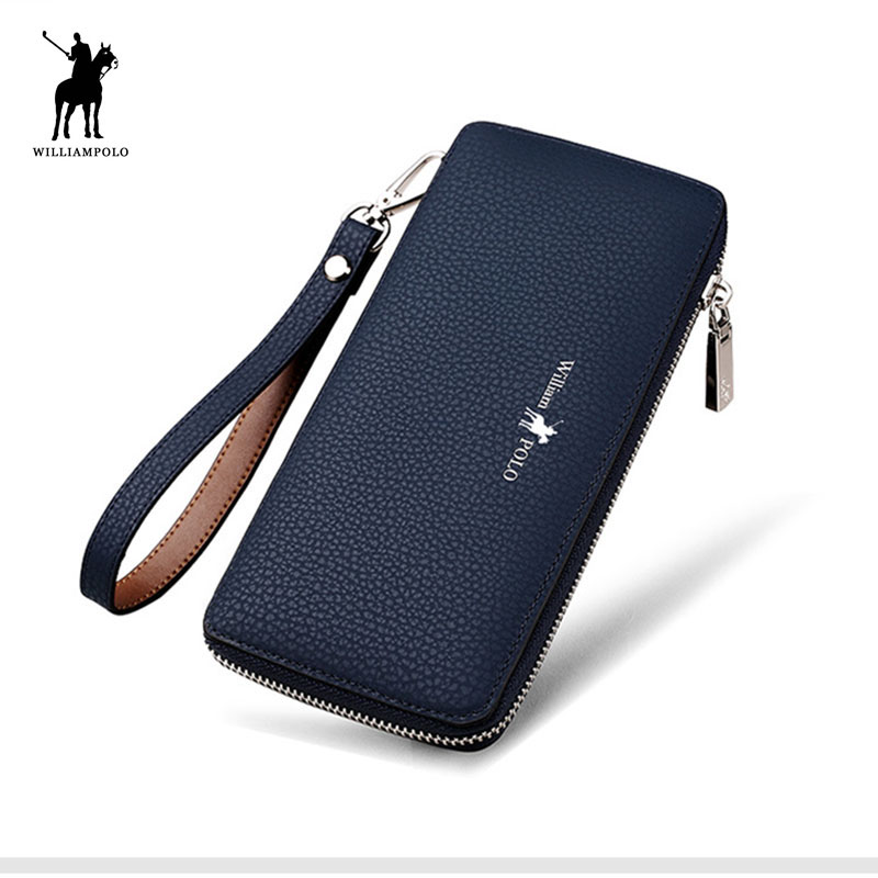Genuine Leather Long Men Clutch Wallet With Zipper WILLIAMPOLO 2018 Fashion New Phone Credit Card Holder Handbag Male Gift box men s purse long genuine leather clutch wallet travel passport holder id card bag fashion male phone business handbag