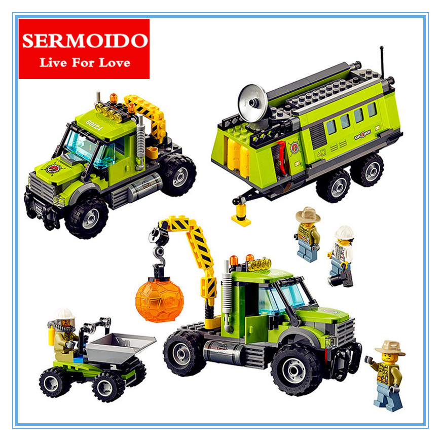 SERMOIDO 02005 City series Volcanic expedition base 889Pcs Model Building blocks Bricks Compatible Toy for children Gift 60124 lepin 02005 volcano exploration base building bricks toys for children game model car gift compatible with decool 60124
