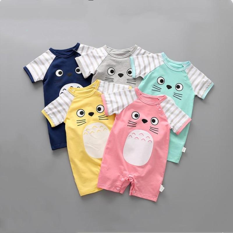 Tonari no Totoro Children Cotton Costumes Baby Cartoon Short Sleeved   Rompers   Pink/Blue/Yellow/Grey Colorful Toddlers Climb Cloth