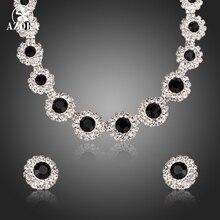 Азора классический черный соответствовать Clear кубического циркония кулон Цепочки и ожерелья и Серьги-гвоздики Ювелирные наборы TG0161