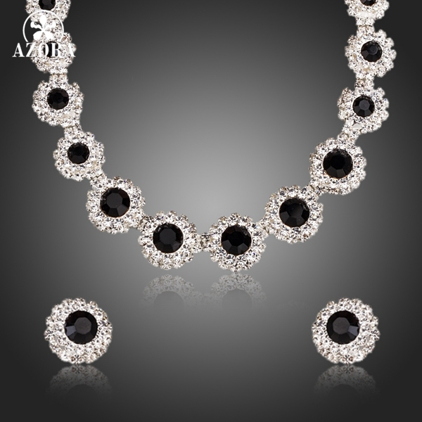 AZORA Classic Black Match Clear Cubic Zirconia Pendant Necklace and Stud Earrings Jewelry Sets TG0161