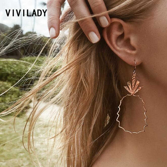 VIVILADY Tropical Fruit Pineapple Drop Dangle Earrings Women Plant African Brincos Alloy Boho Jewelry Party Gift Drop Shipping