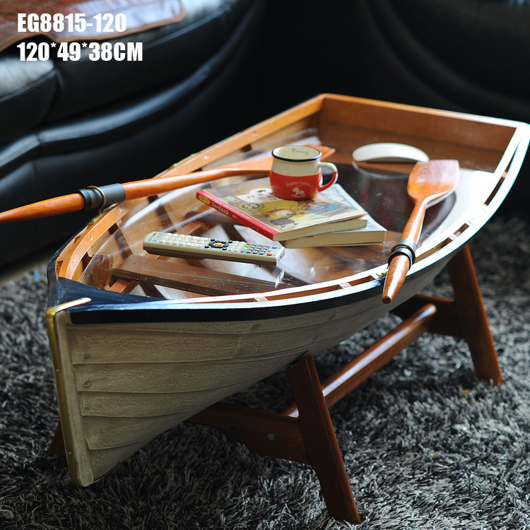 1pcs 120cm Mediterranean Ver Handmade wooden boat frame coffee Cocktail table desk for decoration in box