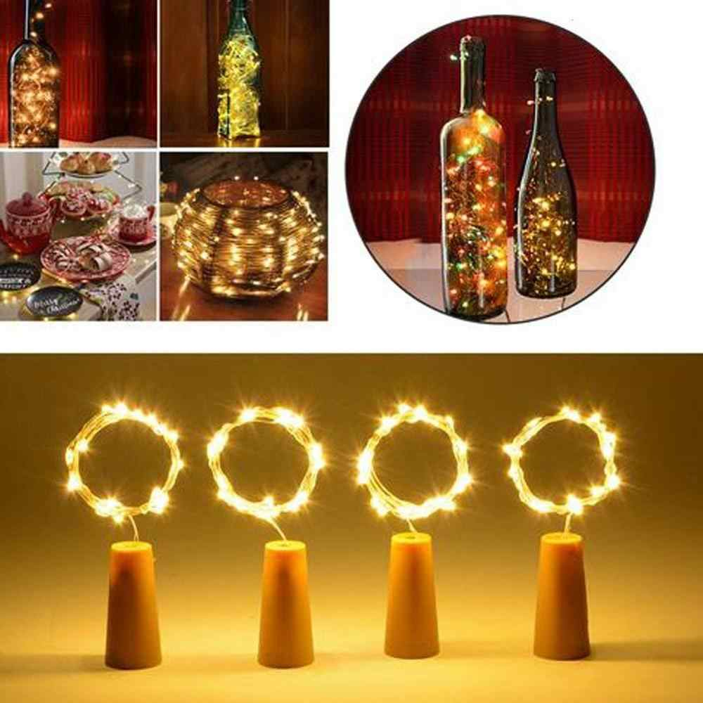 2M 20 LEDS Wine Bottle Lights With Cork Built In Battery LED Cork Shape Silver Copper Wire Colorful Fairy Mini String Lights