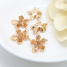 4PCS 15x19MM 24K Champagne Gold Color Plated Brass Flower Charms Pendants High Quality Diy Jewelry Accessories