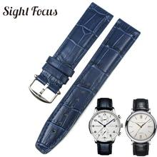 2c4a5a83fa52 20mm (hebilla 18mm) azul negro banda de reloj de los hombres para IWC  Portofino correa de reloj de cuero de reemplazo de la corr.