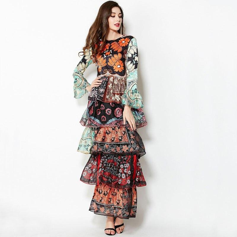 Free Shipping Fashion 2015 Runway Summer Spring New Lady Elegant Slim Long Flare Sleeve Cascading Ruffle