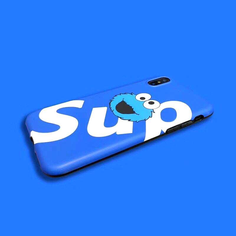 Street Trend Sup Phone Case For iPhone X 8 6 Plus Suprem Cute Cartoon Sesame Street Bus for iPhone 6 6sPlus 7 7 plus