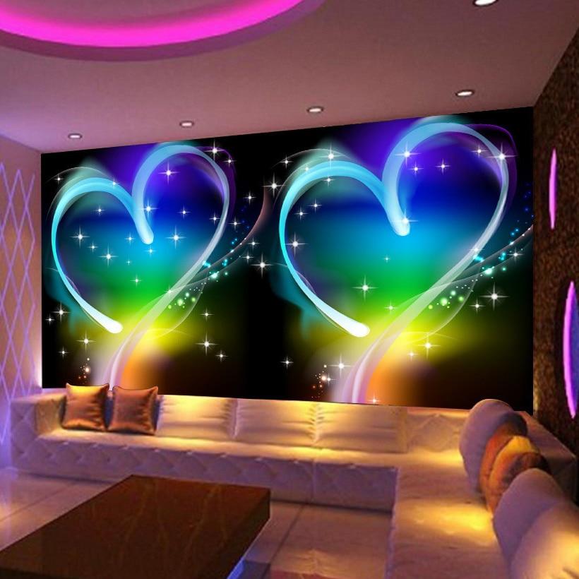 Custom 3D Mural Wallpaper Modern Simple Personas Love Heart Dreamland KTV Bar Decorative Background Photo Wallpaper For Walls 3d