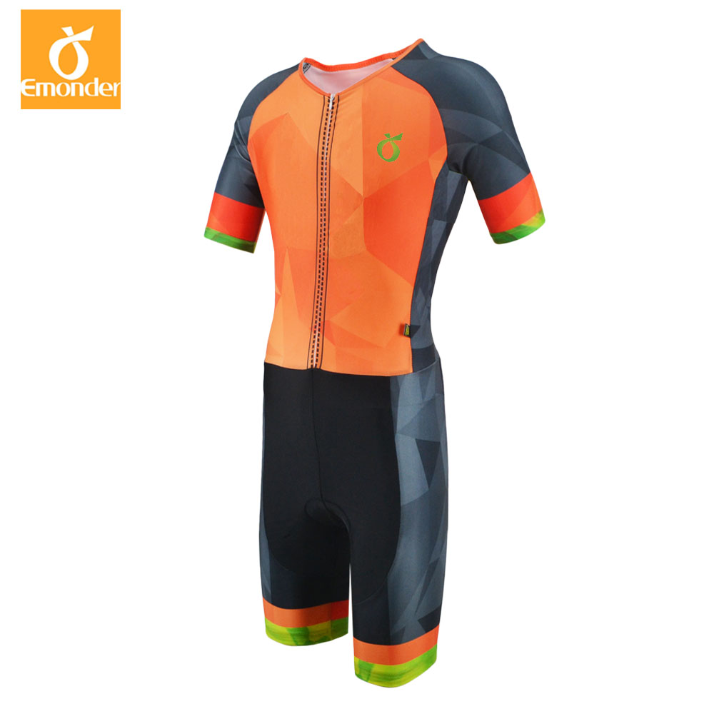 EMONDER 2018 Pro Cycling Skinsuit Short Sleeve Mens Cycling Sports Triathlon Sports Cycling Clothing free shipping