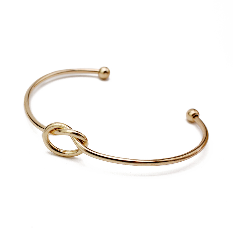 2017 Медь Узел Сердце Любовь браслет золотой браслет открытым Браслеты на запястье для Для женщин Модные украшения Pulseiras