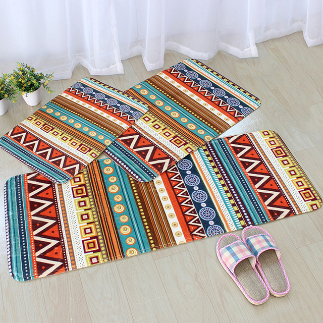 long kitchen rugs how to redo cabinets on a budget honlaker bohemia style mats dustproof doormat bathroom toilet flannel absorbent non slip