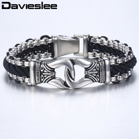 Davieslee Fashion Mens Man made Leather Bracelet Box Link Knot Charm Stainless Steel Wristband 13mm LHB496