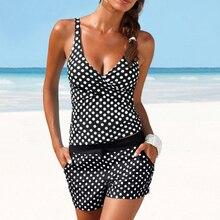 Donne Dots Tankini Plus Size Costumi Da Bagno Push up Due pezzi Costume Da Bagno con Shorts a vita Alta Costume Da Bagno 2XL Polka di Stampa beachwear
