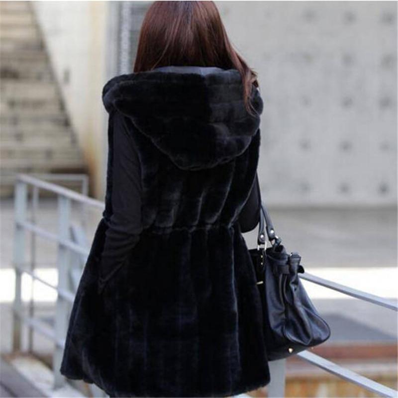 Colete De Pele Feminina Новая модная шуба из искусственного меха Зимний женский жилет из кроличьего меха размера плюс M-XXXL жилет из искусственного меха с капюшоном - Цвет: black