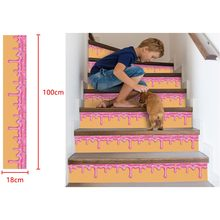 3D Staircase Stickers Simulation Stair Stickers High Quality 18 x100cm Waterproof Wall Stickers DIY Home Decor Wall-papers(China)