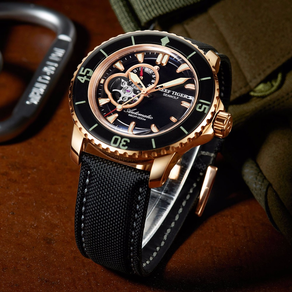 Reef Tiger/RT Automatic Sport Watches for Men Nylon Strap Rose Gold-Tone Super Luminous Dive Watch RGA3039