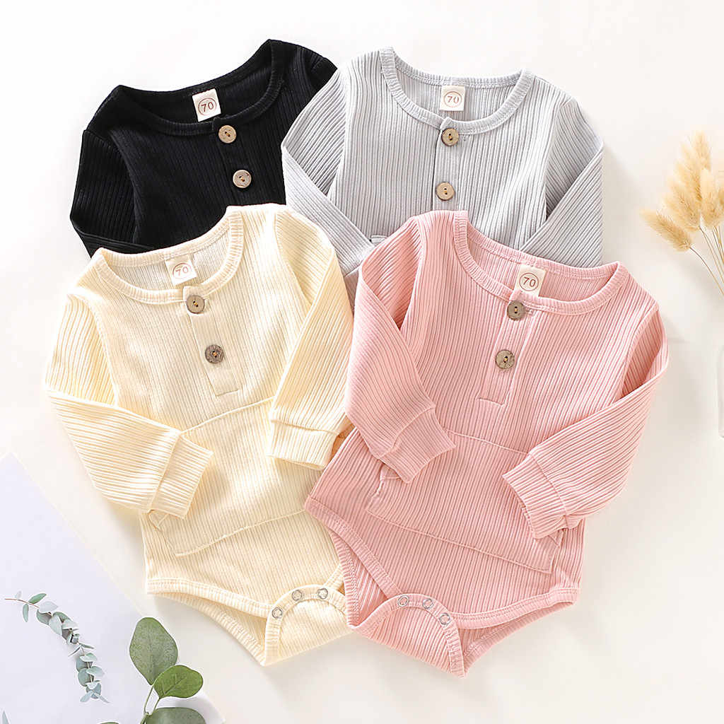 Infant Baby Girl Boy Clothes 2019 Autumn Toddler boy Long Sleeve Solid Knit Romper jumpsuit baby girl onesie ribbed baby clothes