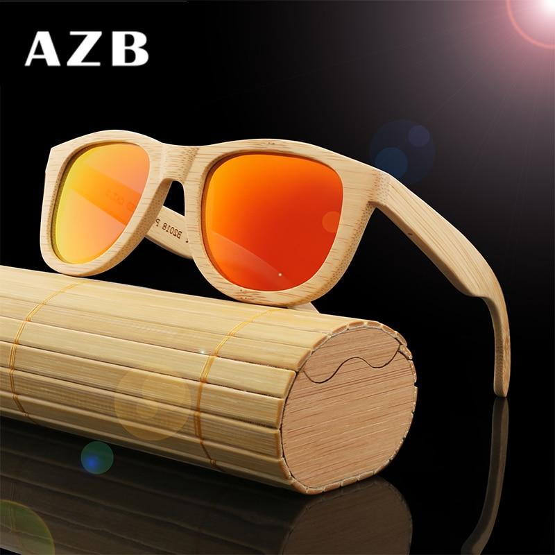 AZB 2018 Vintage bambú piernas de madera gafas de sol hombres - Accesorios para la ropa - foto 2