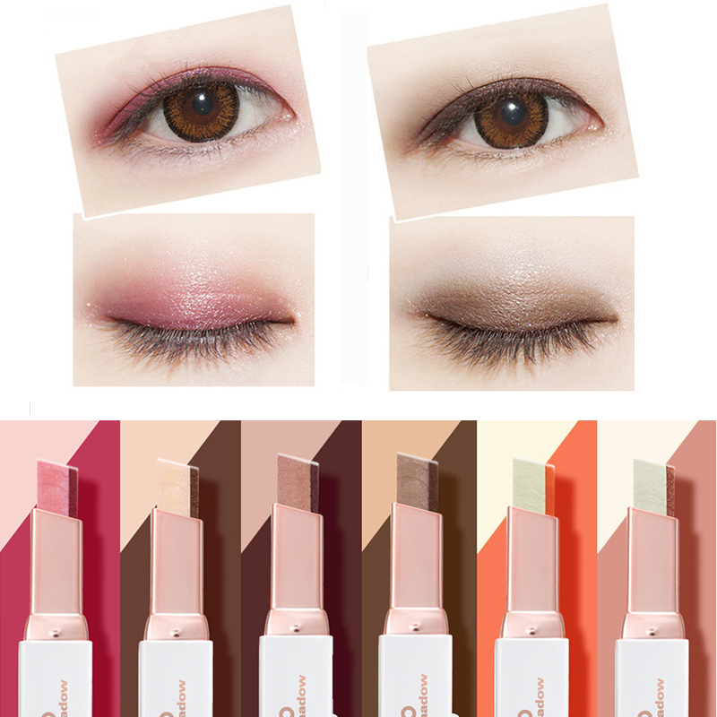 6 Styles Eyeshadow Pencil Matte Waterproof Earth Smoke Makeup Eye Shadow Beauty Two Tone Gradual Change Comestic Eyeshadow Stick ...