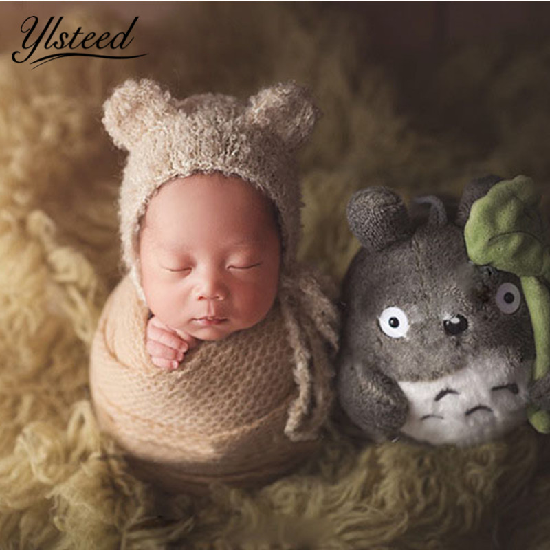 Newborn Ear Bear Cap Crochet Knitted Soft Colorful Mohair Hat Baby Props Infant Shooting Baby Photography Accessories meetcute newborn baby photography props floral crochet blankets cute bear hat knitted bear sets baby fotografia photo kits