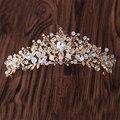 Barroco Feito À Mão Folha de Cristal Noiva Acessórios Do Cabelo Do Casamento Beads Rhinestone Pageant Crown Tiara Hairbands Headbands