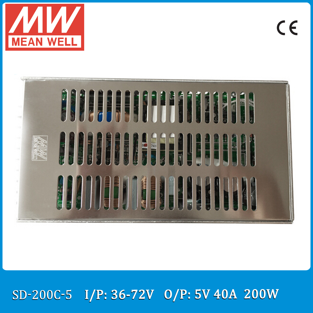 Original MEAN WELL SD-200C-5 Single Output 200W 40A 5VDC Input 36~72VDC meanwell dc/dc converter 5V цена