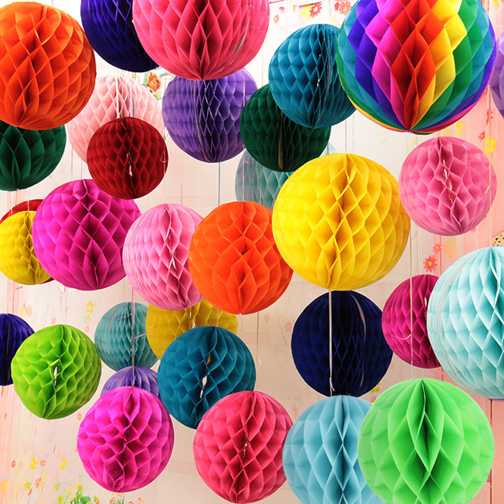 "Hot Pink 8/"" Paper Honeycomb Hanging Party Decoration"