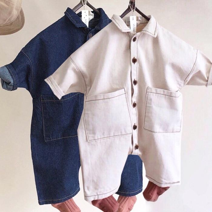 2019 Summer Infant Baby Girls Boys   Rompers   Denim Overalls Korean Princess Kids Clothings Fashion Overalls