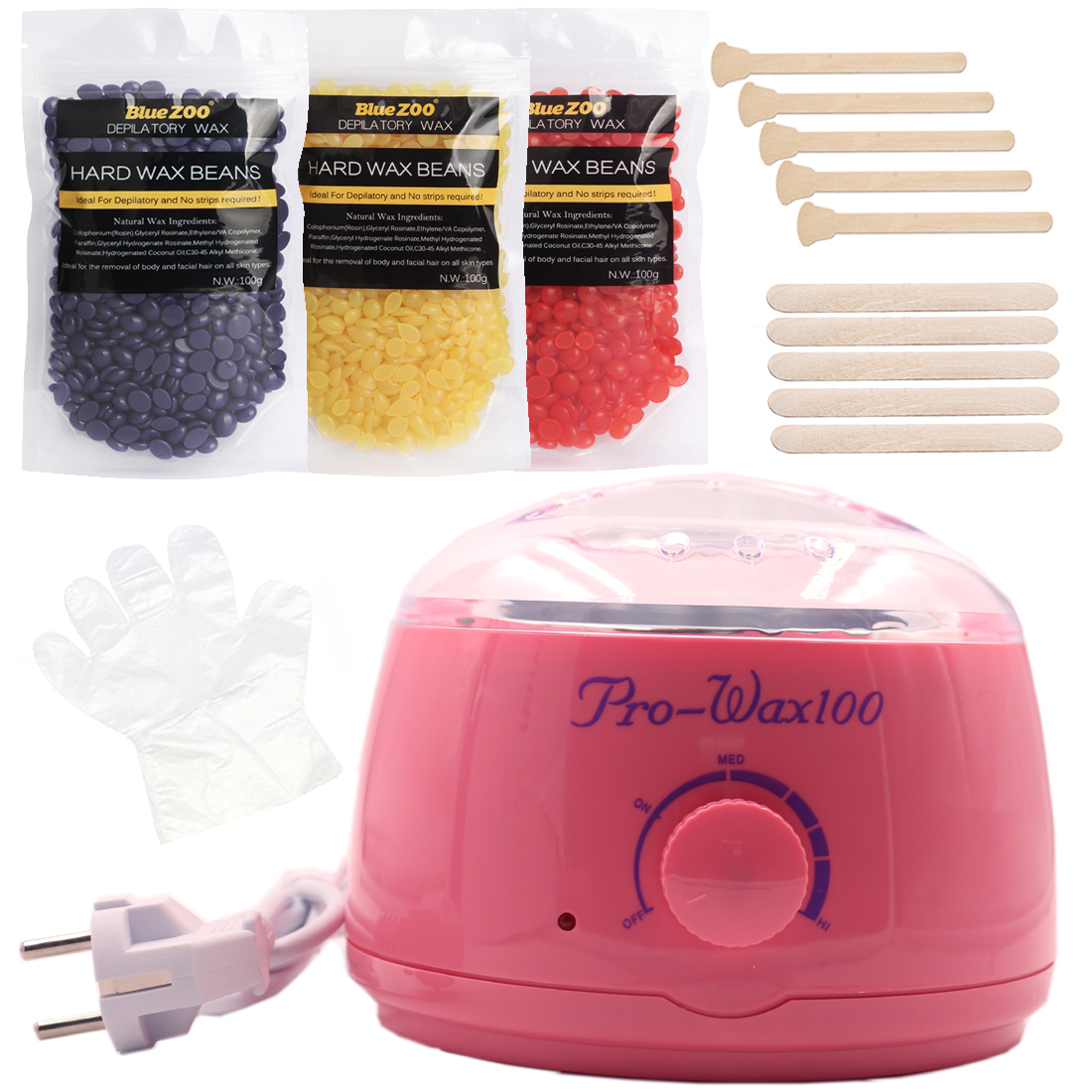 Red Wax Machine Hard Wax Beans Body Waxing Hair Removal Set 3 Bags Natural Beans For Depilation Bikini Depilatory No Strips depilatory wax warmer hard wax beans hair removal black wax machine 250g natural beans for beauty spa epilation