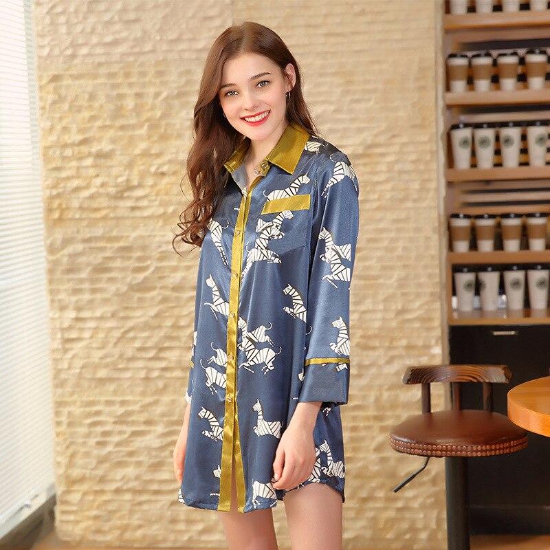 NG0181 2018 New Spring Summer Sleepwear Ladies Full Sleeves Home Clothing Women Pyjamas Satin Silk Sexy Nightgown Sleepshirt