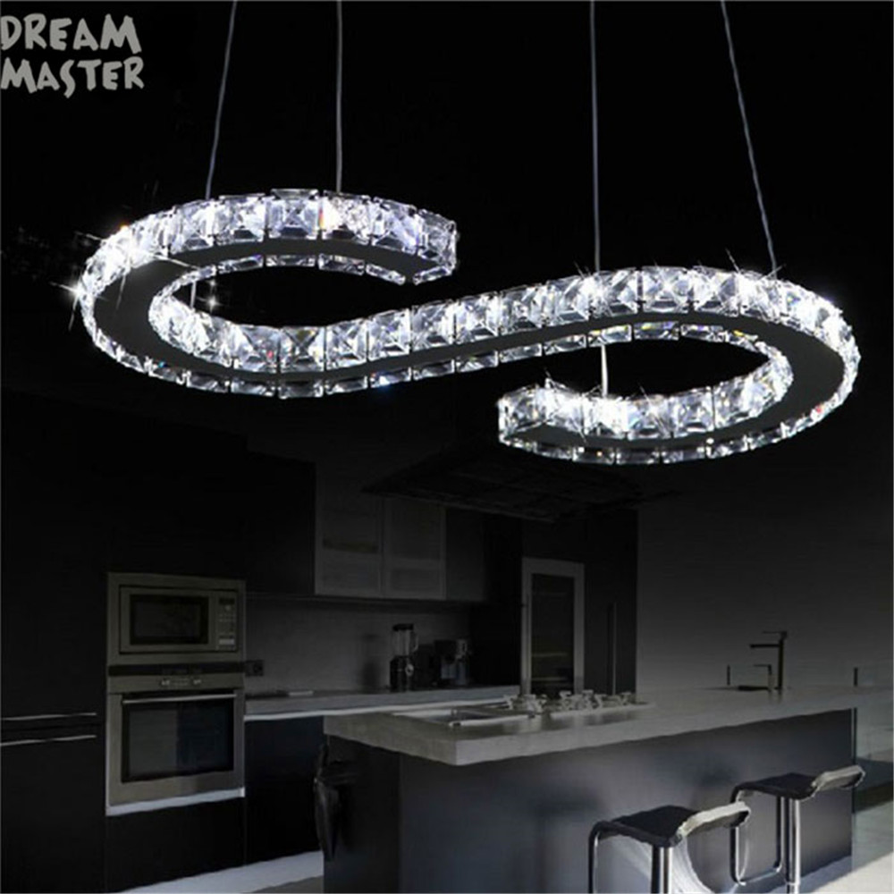 New Design Led Crystal Chandelier Lighting S Letter Hanging Modern Dining Room Kitchen Res De Cristal Lamps In Chandeliers From Lights