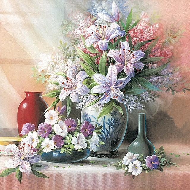 Aliexpress buy floral vase d diy diamond painting