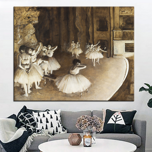DP ARTISAN Ballet Rehearsal On Stage Wall Painting Print On Canvas For Home  Decor Oil Painting