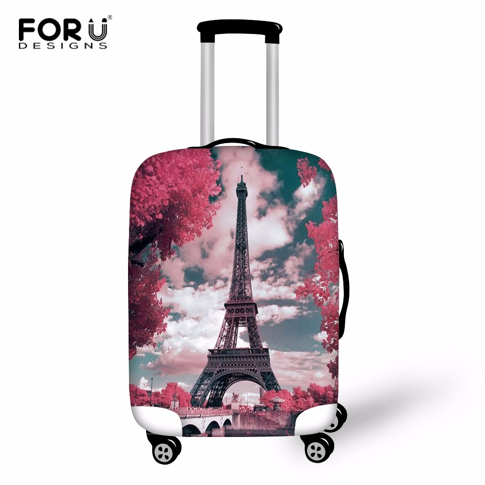 FORUDESIGNS Eiffel Tower Print Case Cover Travel Suitcase Protective Cover Bag Luggage Protect Cover For Travel Fashion Baggage