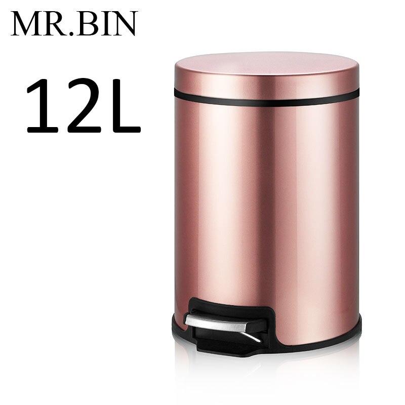 MR. BIN Макарон плюс мусорный бак с 5L/8L/12L ёмкость красочные педаль отходов Bin металлическая мусорная корзина для дома и кухня - Цвет: 12L Apple Rose Gold