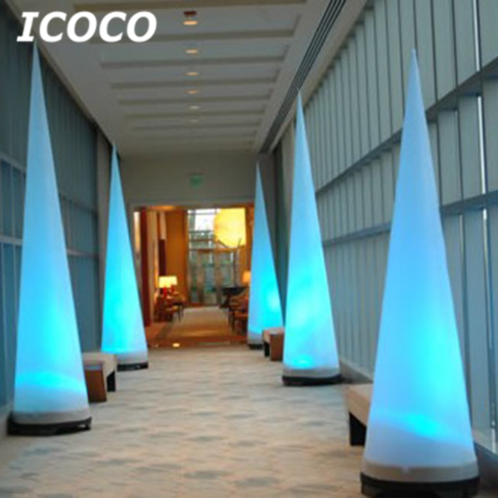 ICOCO Colorful Inflatable LED Light Column/Inflatable Cone for Party Decor Waterproof Luminous Remote Control Color Changing