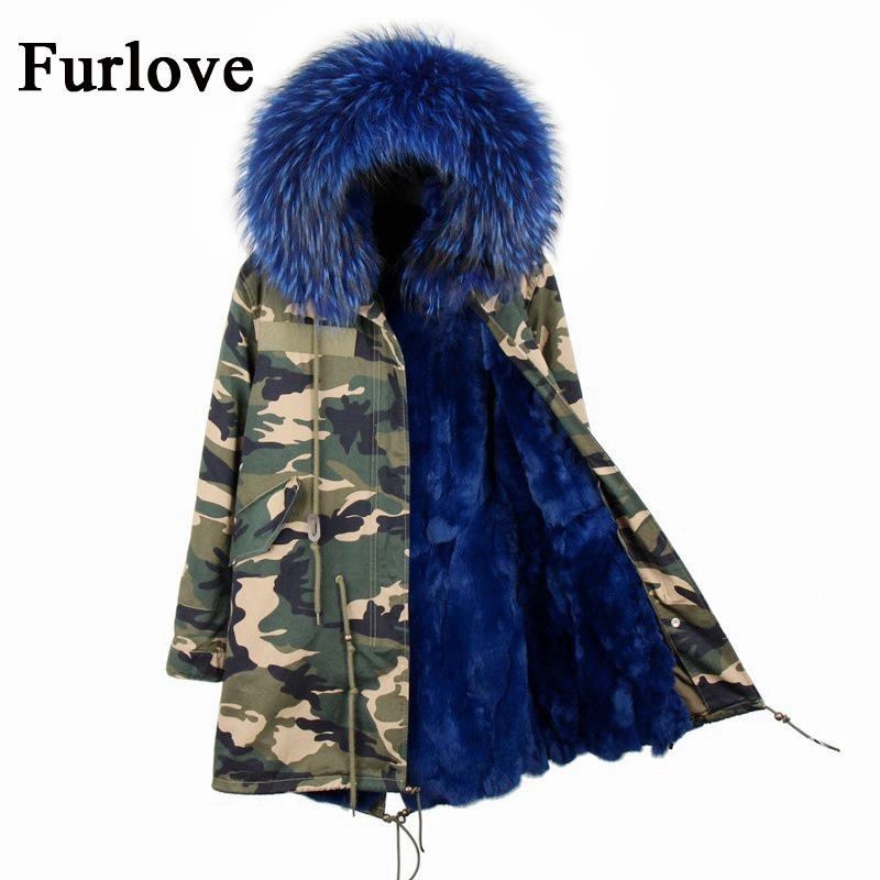 Camouflage long winter jacket women parka natural raccoon fur collar hooded thick warm coats real rabbit fur coat womens jackets 2017 winter new clothes to overcome the coat of women in the long reed rabbit hair fur fur coat fox raccoon fur collar