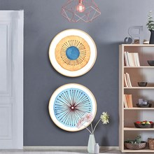 Nordic style solid wood round decorative painting simple modern living room paintings restaurant Childhood color mural