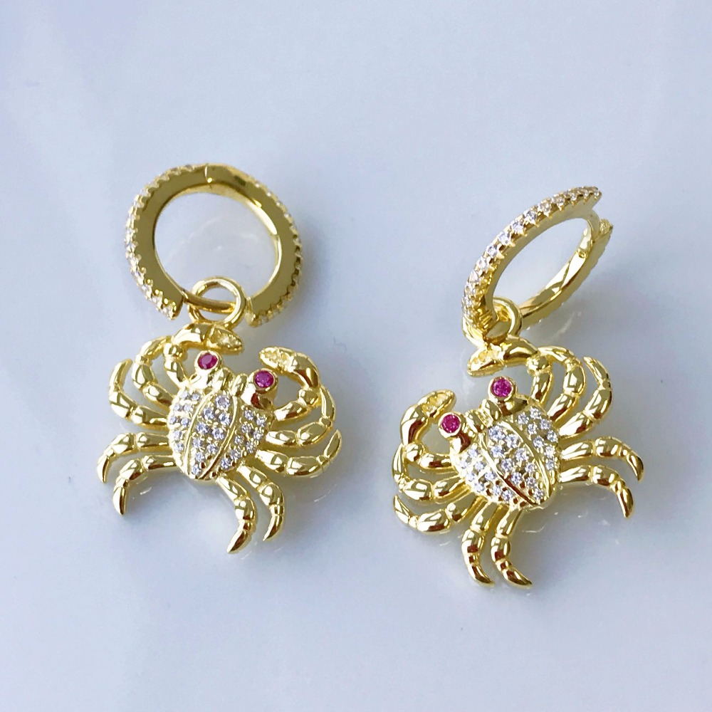 925 boucles d'oreilles en argent Sterling couleur or zircon crabe de mer cz pierres pour femmes boucles d'oreilles Monaco Juin célèbre marque bijoux
