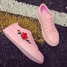 2019 New Lady Women Flat Shoes Fashion Girl's Flats Red Rose Embroider Pink Lace Up Low Top Casual Leather Loafers Shoes